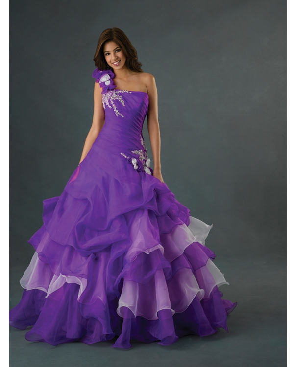 Lightweight Purple Ball Gown One Shoulder Floor Length Quinceanera Dresses With White Embroidery