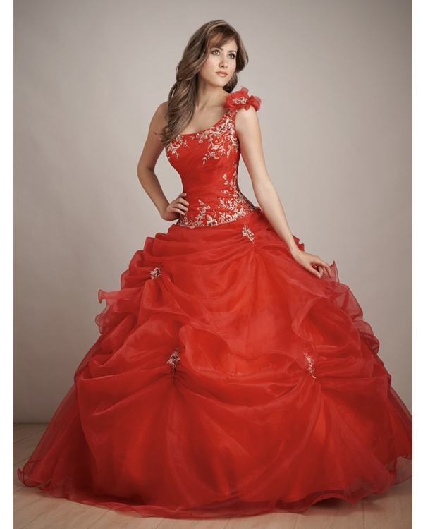 Red Ball Gown One Shoulder Floor Length Ball Gown Tulle Quinceanera Dresses With White Embroidery