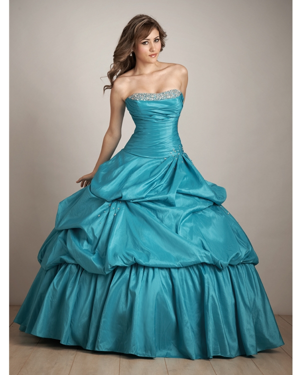 Blue Strapless Floor Length Ball Gown Taffeta Quinceanera Dresses With Beads