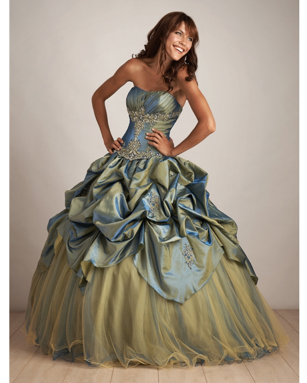 Yellow And Green Ball Gown Strapless Floor Length Quinceanera Dresses With Ruffles And Embroidery