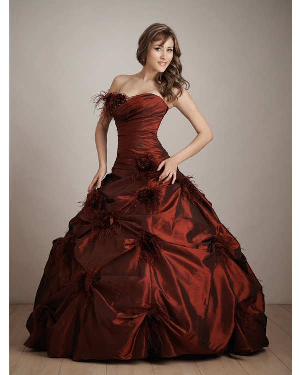 Burgundy Strapless Ball Gown Floor Length Quinceanera Dresses With Twist Drapes And Flowers
