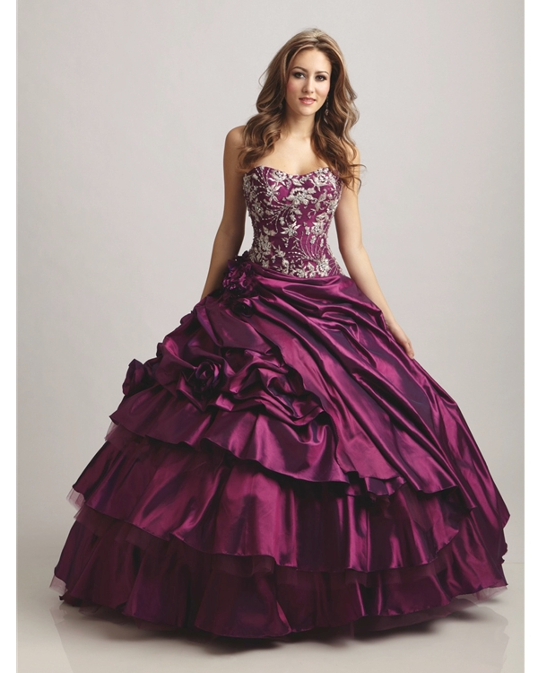 Purple Ball Gown Floor Length Strapless Quineanera Dresses With White Embroidery