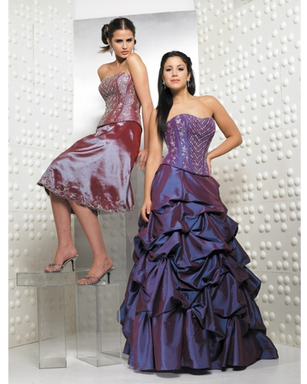 Dark Purple Ball Gown Strapless Full Length Quinceanera Dresses With Embroidery And Ruffles