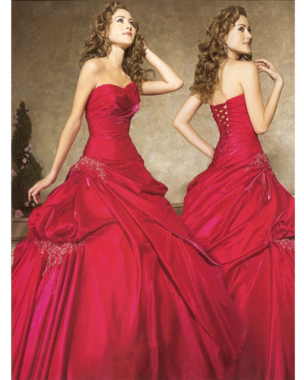 Sweetheart Strapless Full Length Ball Gown Dark Red Quinceanera Dresses With Embroidery