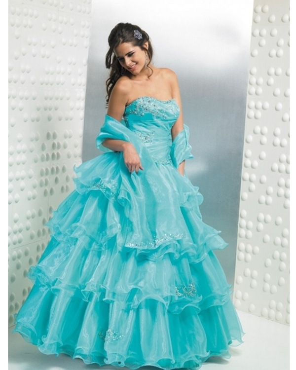 Turquoise Strapless Floor Length Ball Gown Tiered Quinceanera Dresses With Beading And Ruffles