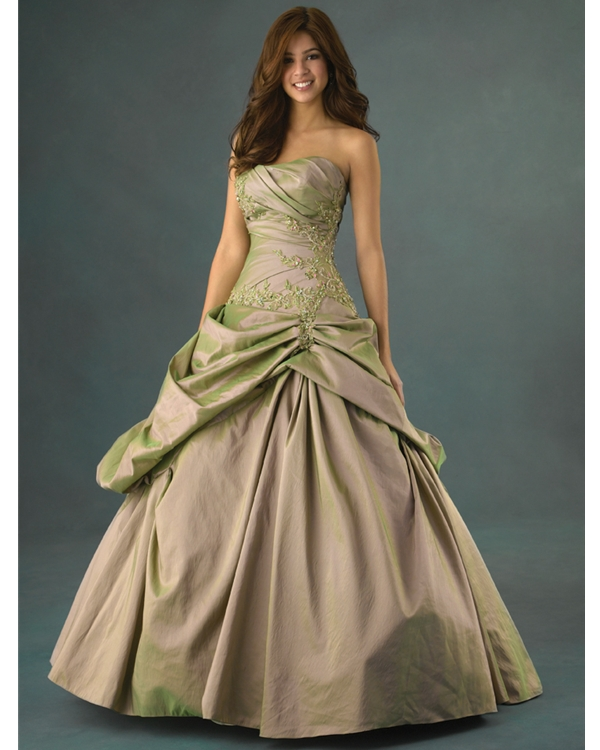 Chic Strapless Ball Gown Floor Length Light Olive Quinceanera Dresses With Beading Appliques