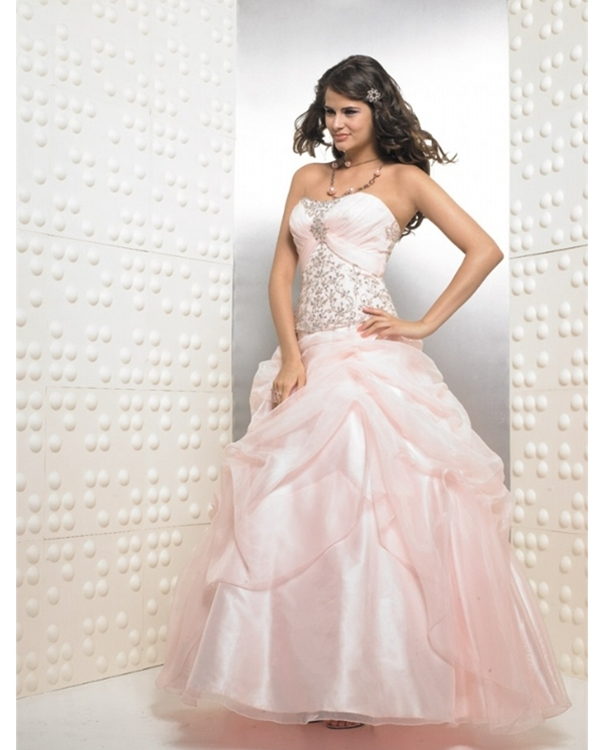 Baby Pink Ball Gown Strapless Full Length Quinceanera Dresses With Shiny Embroidery