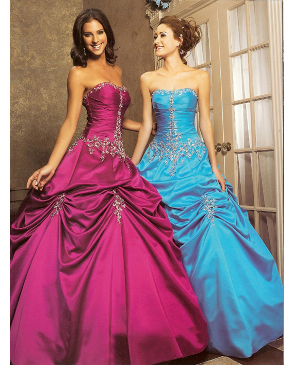 Gorgeous Strapless Light Purple Blue Full Length Ball Gown Quinceanera Dresses With Embroidery