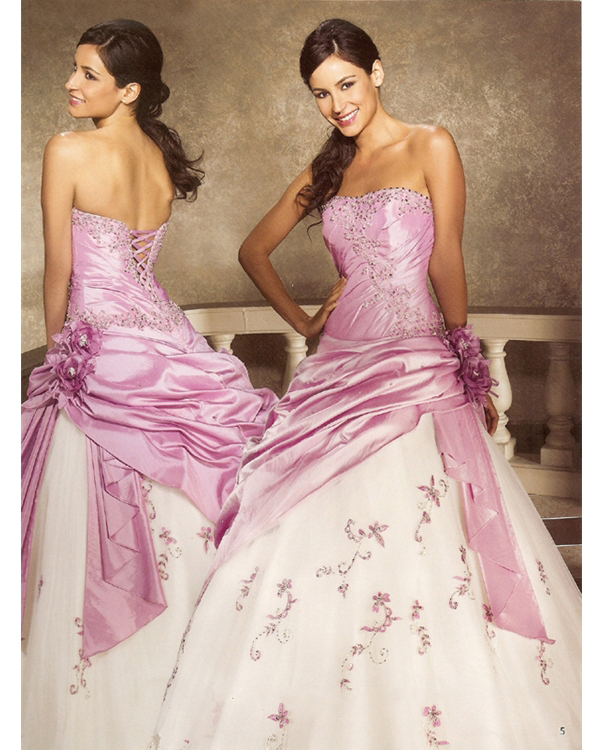 Floor Length Ball Gown Strapless Pink And White Quinceanera Dresses With Hand Made Flowers
