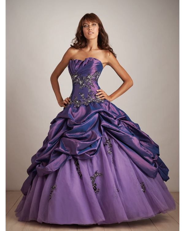 Purple Floor Length Ball Gown Strapless Tulle Taffeta Quinceanera Dresses With Ruffles And Beadings