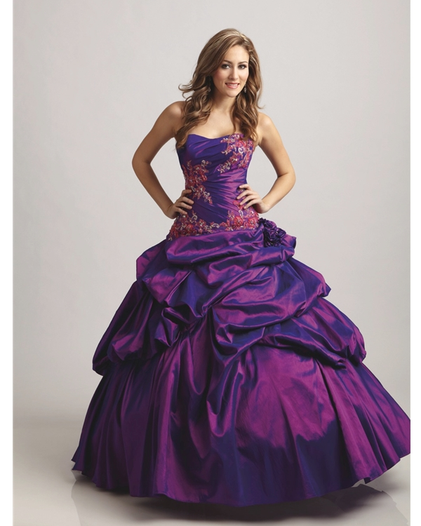 Purple Ball Gown Strapless Floor Length Taffeta Quineanera Dresses With Flower And Embroidery