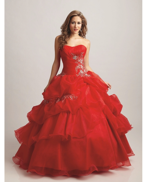 Scarlet Strapless Floor Length Ball Gown Tiered Quinceanera Dresses With White Embroidery