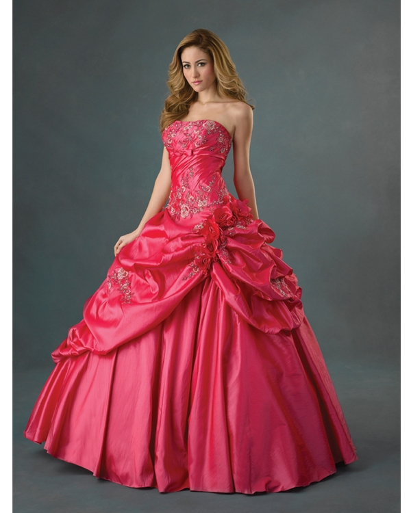 Rose Red Strapless Ball Gown Strapless Full Length Quinceanera Dresses With Embroidery