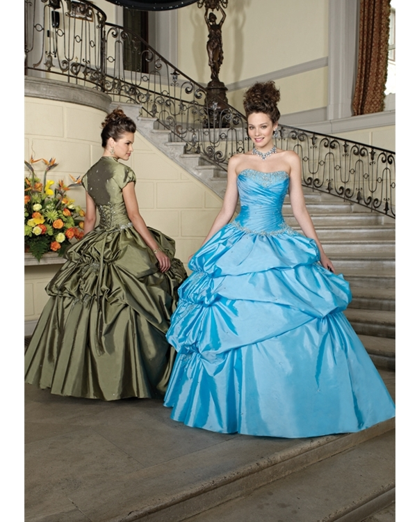Blue Ball Gown Strapless Floor Length Taffeta Quinceanera Dresses With Embroidery And Ruches