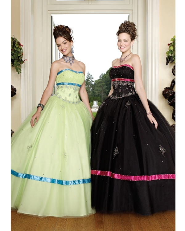 Sage Ball Gown Strapless Floor Length Tulle Quinceanera Dresses With Embroidery And Blue Straps