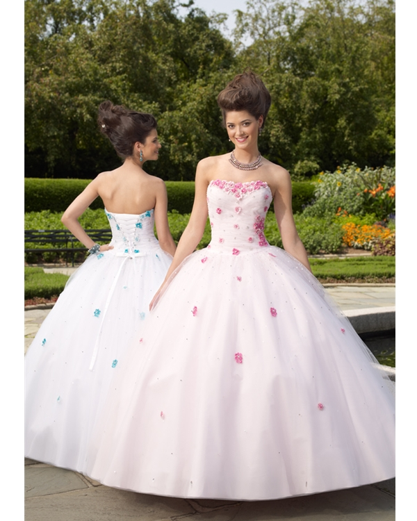 Strapless Sweetheart Floor Length Ball Gown Tulle Quinceanera Dresses With Pink Hand Made Flower