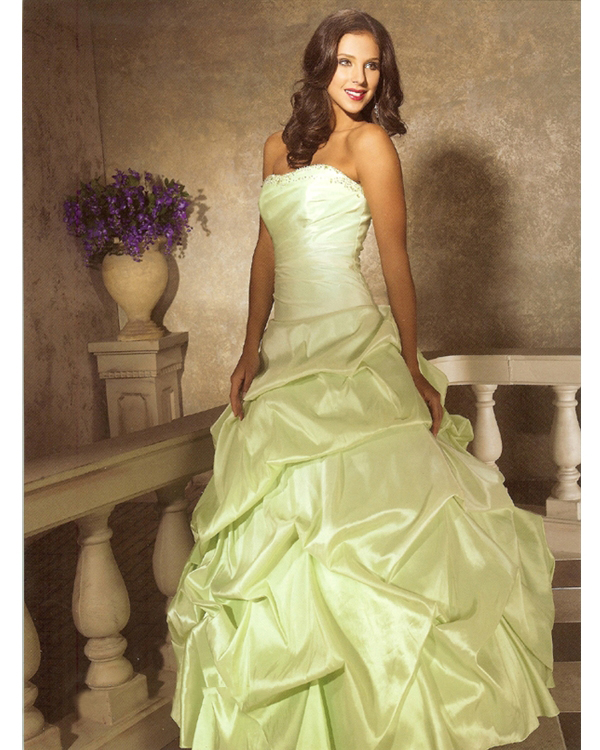 Graceful Full Length Ball Gown Strapless Sage Taffeta Quinceanera Dresses