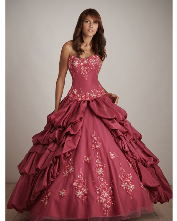 Inki Pink Strapless Sweatheart Ball Gown Floor Length Quinceanera Dresses With Embroidery