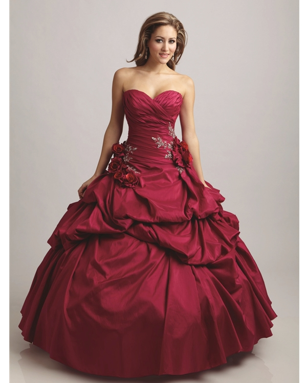 Red Ball Gown Sweatheart Strapless Full Length Quinceanera Dresses With Hand Made Flower