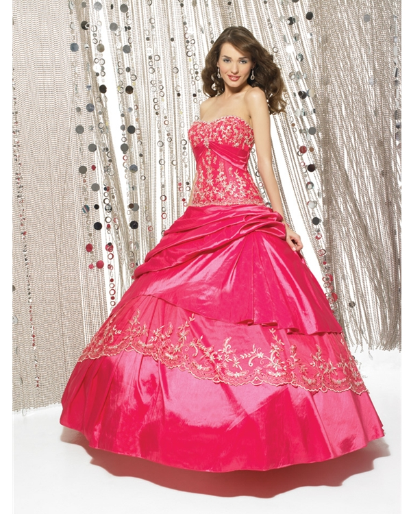 Full Length Ball Gown Sweatheart Strapless Watermelon Quinceanera Dresses With Elaborate Embroidery