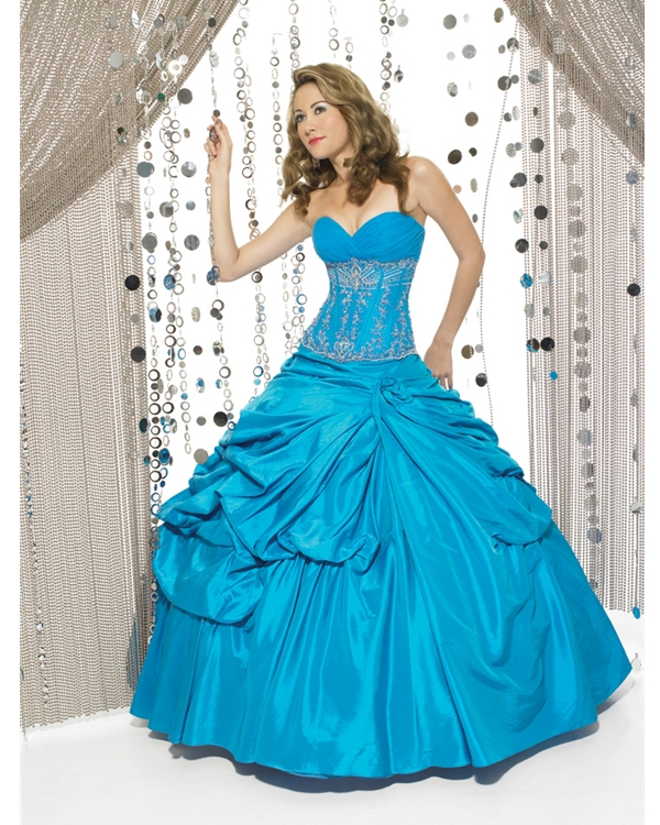 Floor Length Ball Gown Sweatheart Strapless Blue Quinceanera Dresses With Shiny Embroidery
