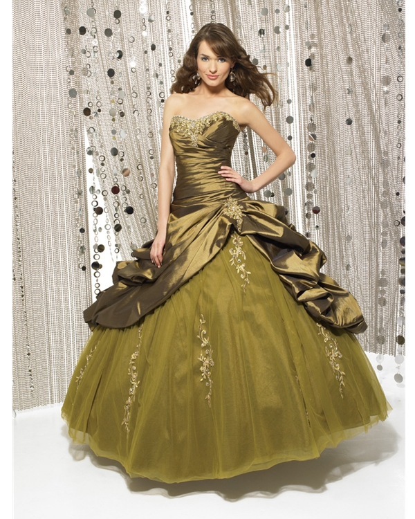 Olive Ball Gown Sweatheart Strapless Full Length Quinceanera Dresses With Appliques