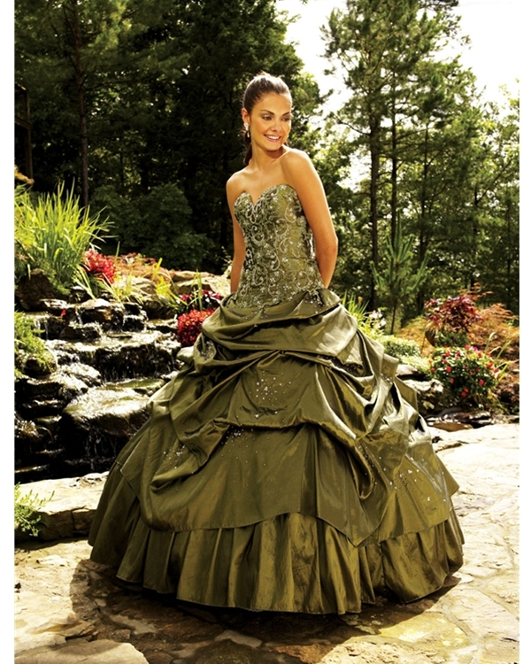 Gorgeous Ball Gown Floor Length Sweatheart Olive Quinceanera Dresses With Delicate Embroidery
