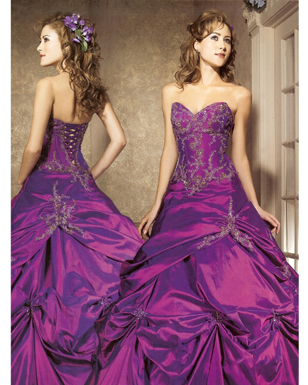 Romantic Full Length Ball Gown Sweatheart Strapless Purple Quinceanera Dresses With Glittery Embroidery