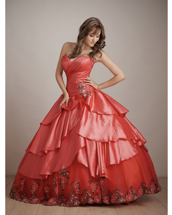 Red Ball Gown Sweatheart And Strapless Floor Length Quinceanera Dresses With Embroidery