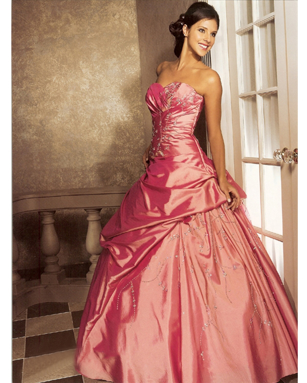 Coral Red Ball Gown Sweatheart Floor Legnth Taffeta Quinceanera Dresses With Beads