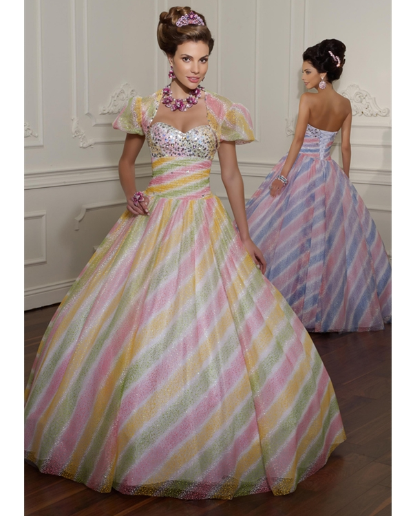 Multi Color Stripe Print Ball Gown Sweetheart Floor Length Quinceanera Dresses With Sequins
