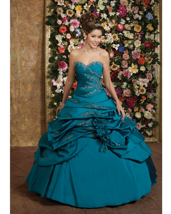 Stunning Teal Sweetheart Ball Gown Floor Length Taffeta Quinceanera Dresses With Appliques And Flowers