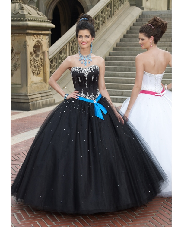 Black Ball Gown Sweetheart Full Length Tulle Quinceanera Dresses With White Appliques And Blue Sash