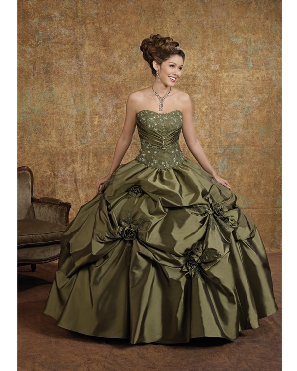 Olive Drab Strapless Floor Length Ball Gown Taffeta Quinceanera Dresses With Embroidery And Flowers