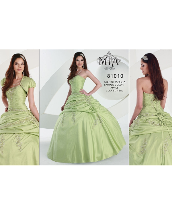 Sage Ball Gown Floor Length Strapless Taffeta Quinceanera Dresses With Delicate Appliques