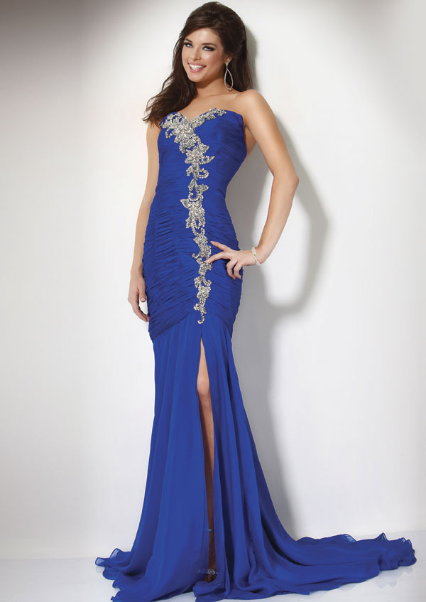 Elegant Royal Blue Strapless Sweet Heart Hgih Slit Sweep Train Floor Length Mermaid Prom Dresses With Appliques