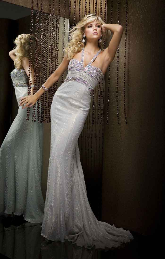 Halter Empire Sweep Train Floor Length Mermaid Prom Dresses With Sequins