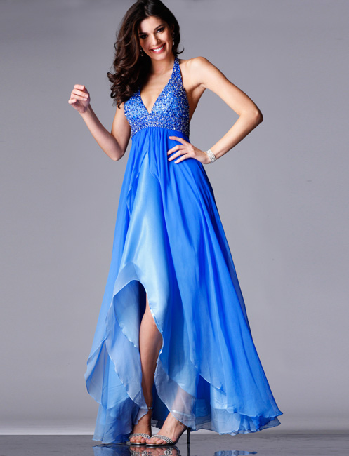 Blue Halter And V Neck Backless Asymmetrical Length A Line Chiffon Prom Dresses With Beads