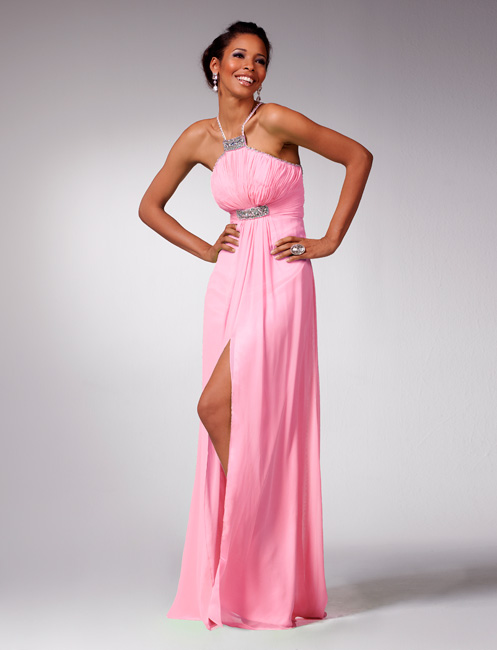 Pink Halter Floor Length Sheath Chiffon Prom Dresses With Crystal And Side Slit