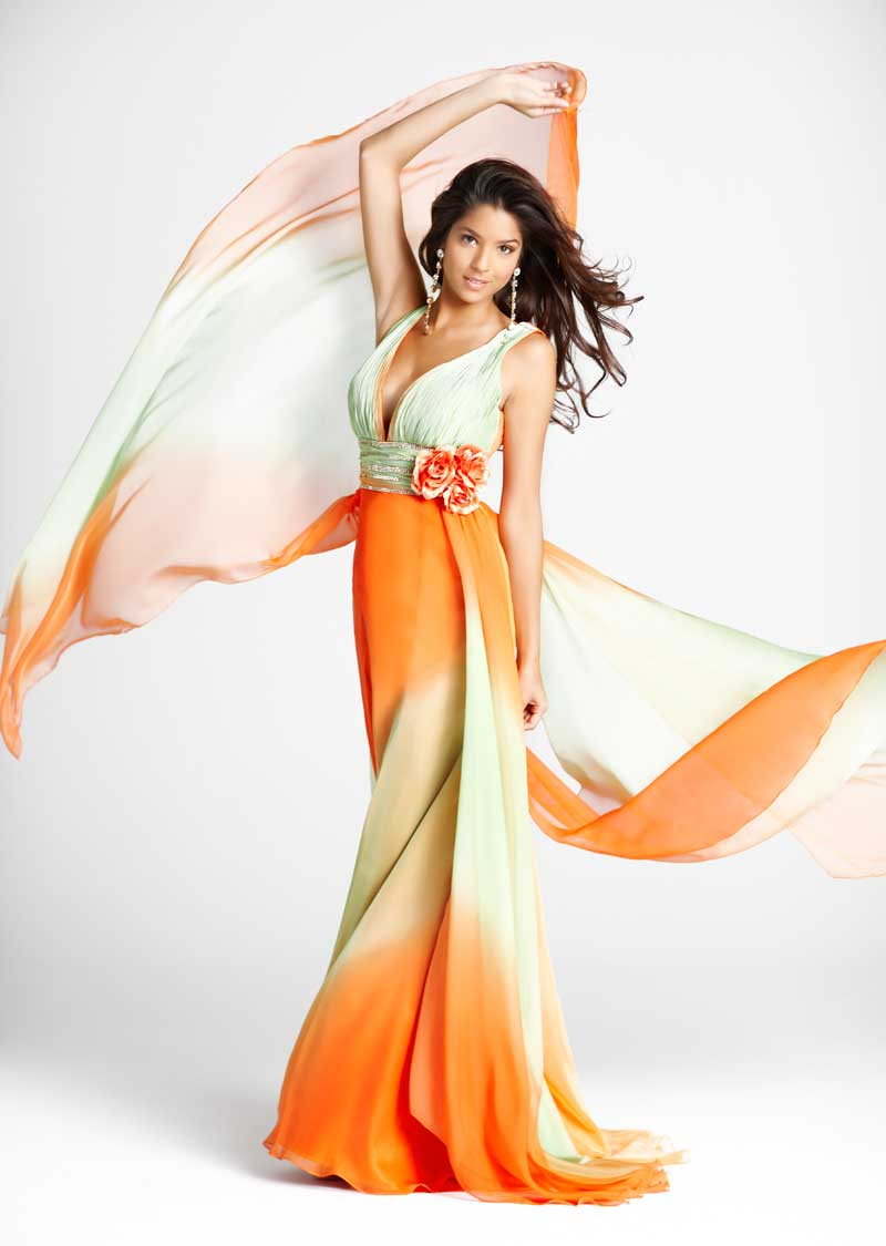 Sage And Orange V Neck Sweep Train Floor Length Sheath Chiffon Prom Dresses With Flowers