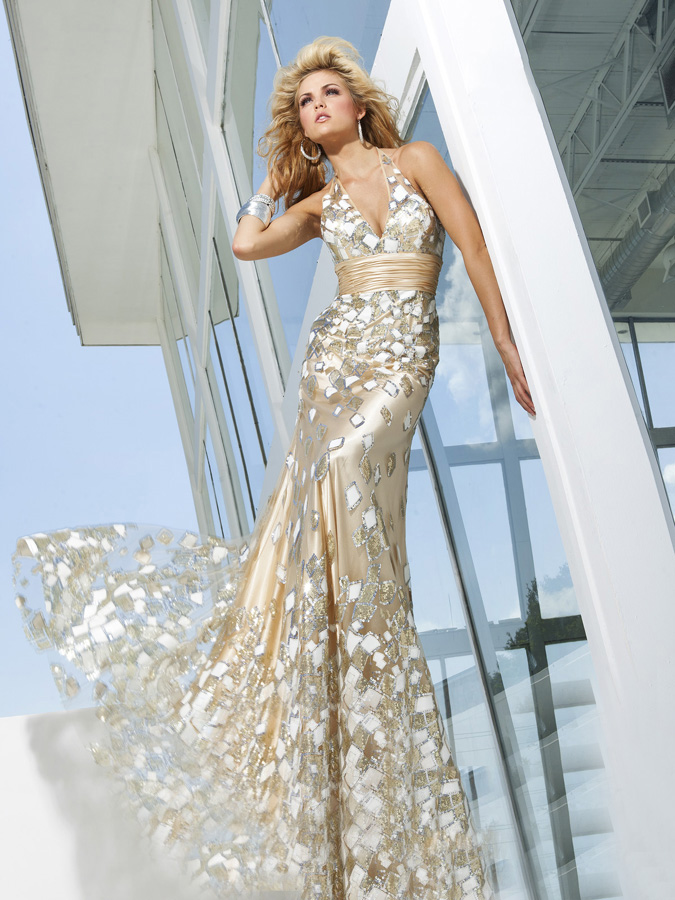 Airy Printed Silver Halter And Deep V Neck Floor Length Prom Dresses With Sequin And Sash