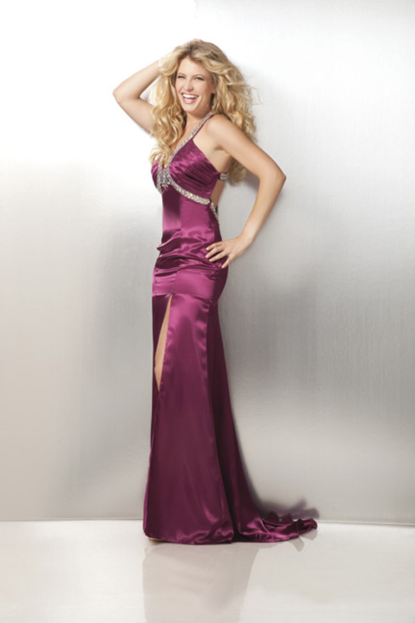 Purple Halter Neck High Slit Sweep Train Floor Length Prom Dresses With Beads