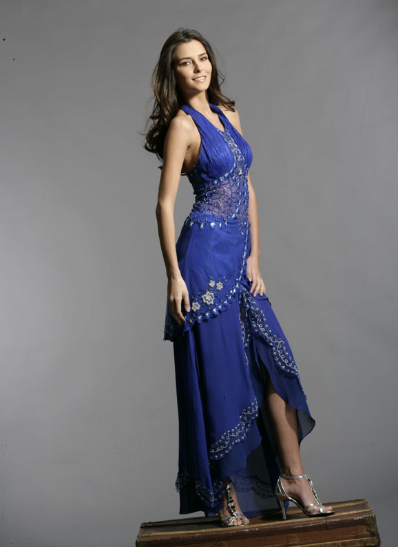 Violet Halter Asymmetrical Length Sheath Prom Dresses With Beading Embroideries