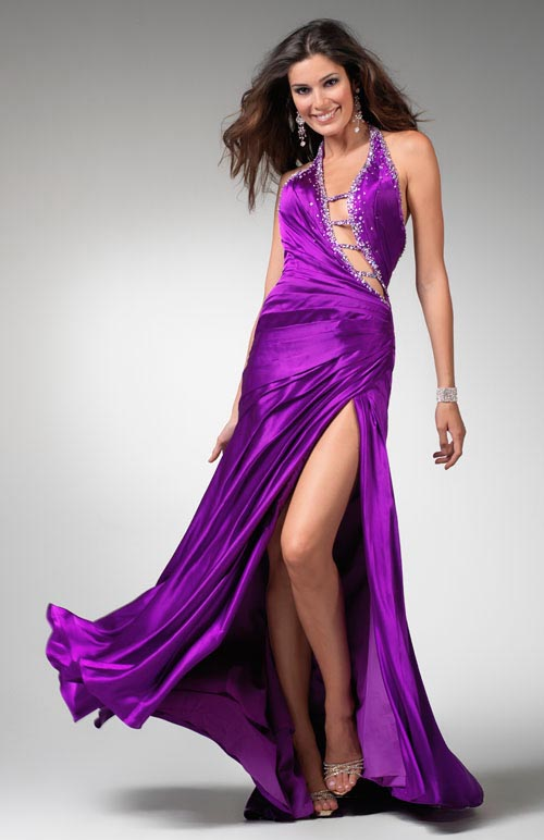 Violet Halter Neck Backless High Slit Sexy Floor Length Sheath Prom Dresses With Jewel