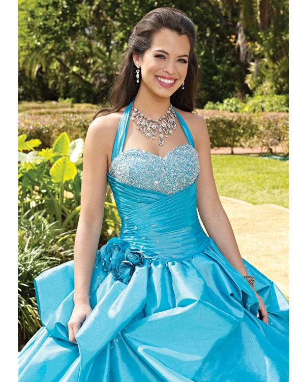 Turquoise Halter Sweetheart Ball Gown Floor Length Taffeta Quinceanera Dresses With Beadings And Flowers