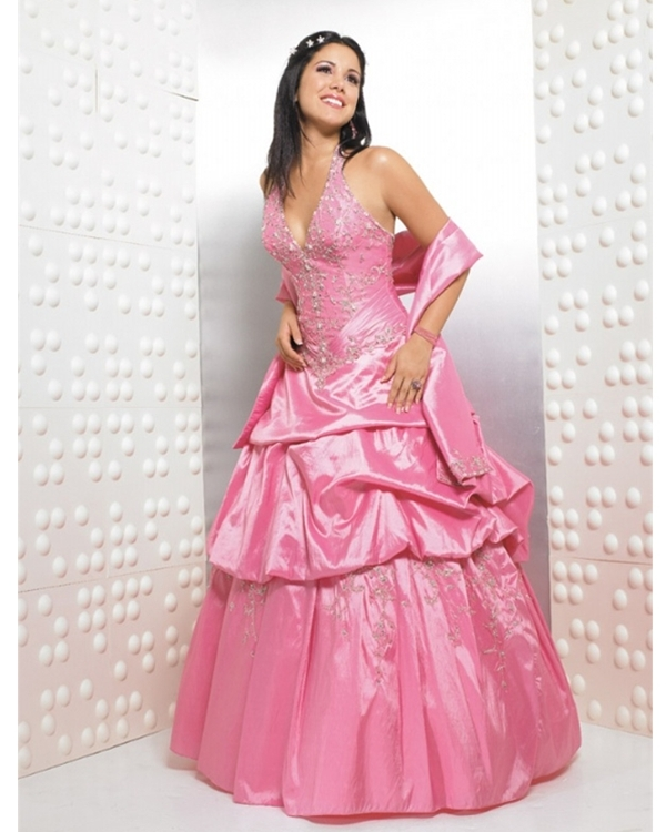 Halter V Neck Draped Full Length Ball Gown Pink Quinceanera Dresses With Embroidery