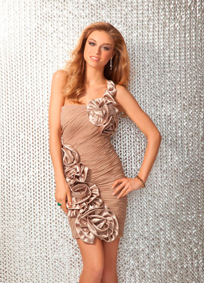 Skin Color One Shoulder Ruched Short Mini Column Prom Dresses With Gorgeous Flowers