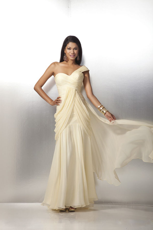 Paint Yellow One Shoulder Ruched Floor Length Column Chiffon Prom Dresses