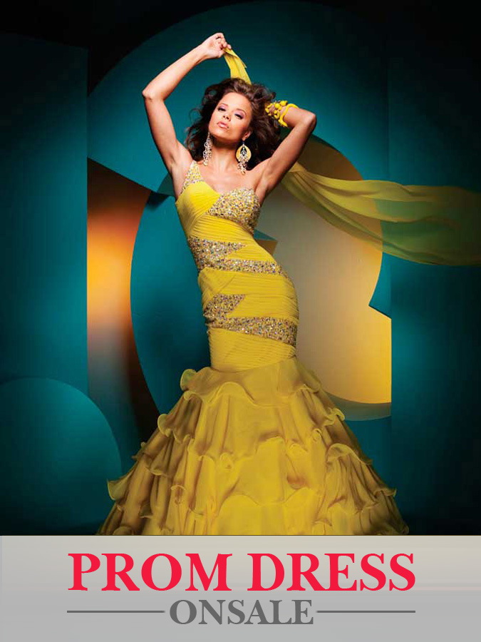 Yellow Mermaid One Shoulder Floor Length Chiffon Tiered Prom Dresses With Sequins