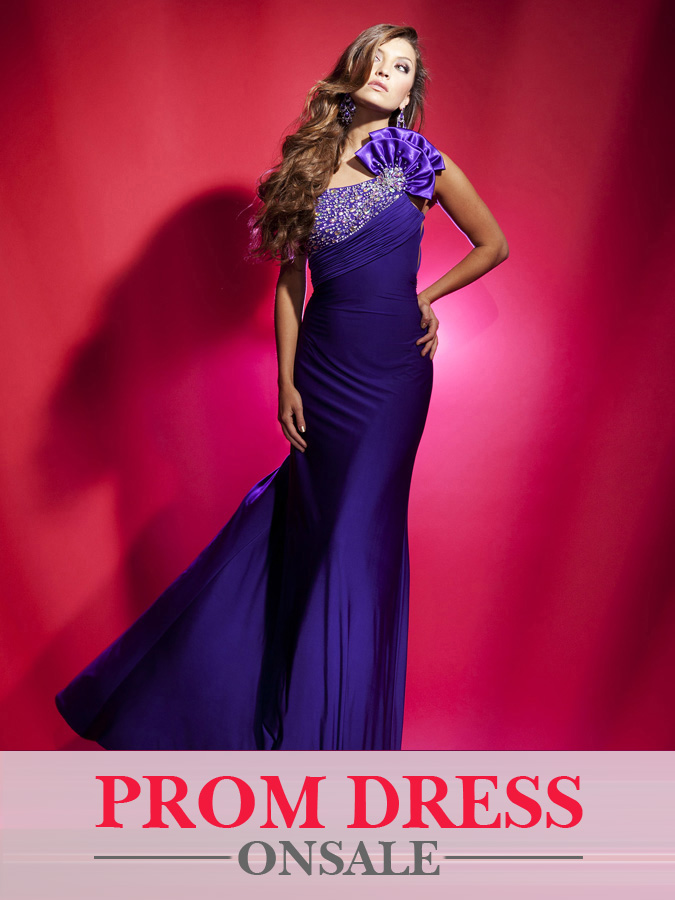 Graceful Purple One Shoulder Floor Length Sheath Prom Dresses With Stones